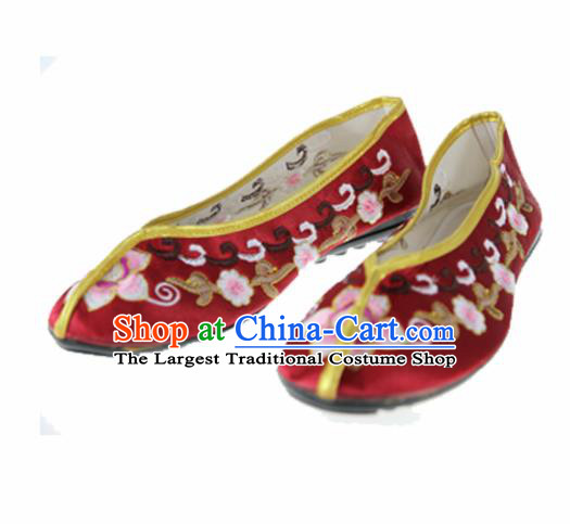 Asian Chinese Traditional Wine Red Blood Stained Shoes Ancient Embroidered Shoes for Women