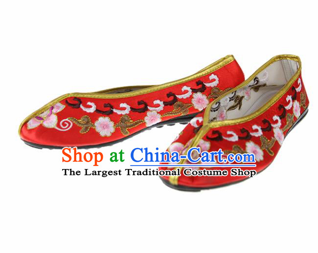 Asian Chinese Traditional Red Blood Stained Shoes Ancient Embroidered Shoes for Women