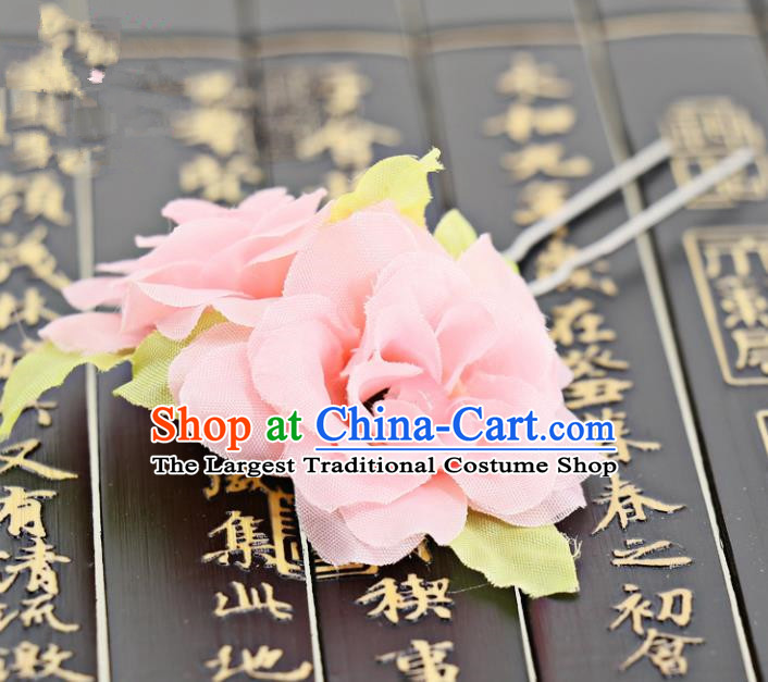 Chinese Traditional Hair Accessories Ancient Tang Dynasty Pink Peony Hairpins for Women