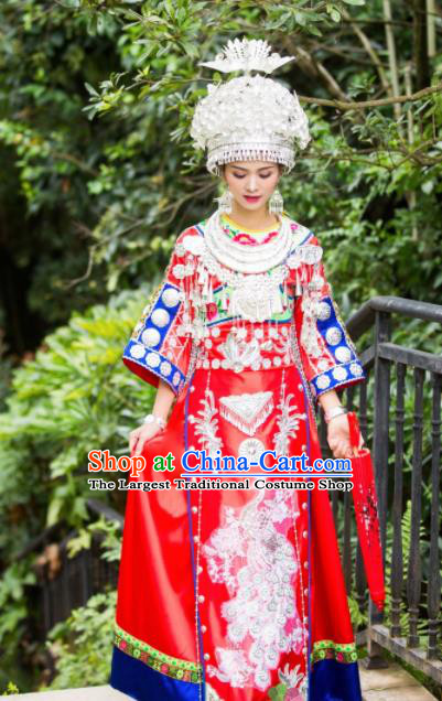 Chinese Traditional Miao Nationality Costume Hmong Bride Embroidered Dress and Headpiece for Women