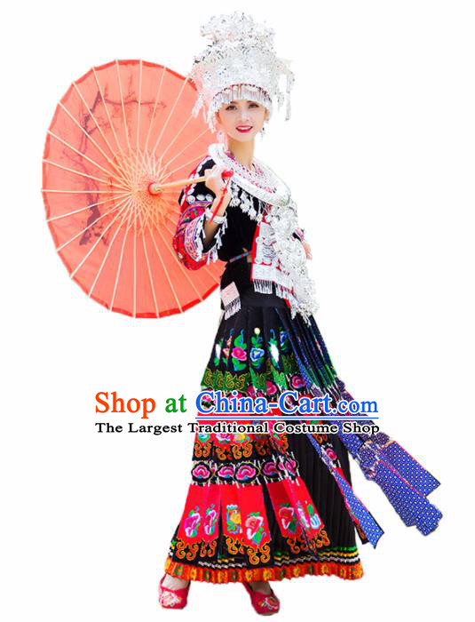 Chinese Traditional Miao Nationality Embroidered Costumes Hmong Dress and Headpiece for Women