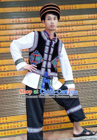 Chinese Traditional Miao Nationality Male Embroidered Costume Hmong Clothing for Men