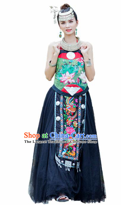 Chinese Traditional Zhuang Nationality Embroidered Lotus Costumes Hmong Dress and Headpiece for Women