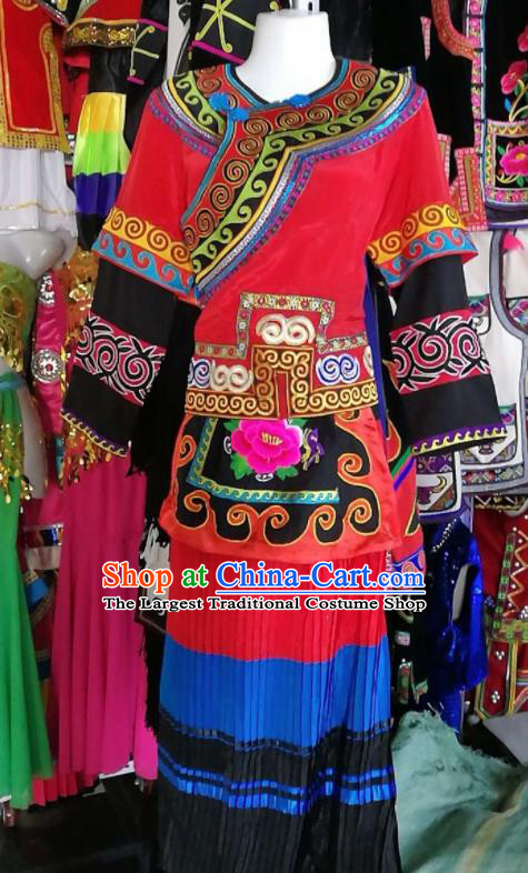 Chinese Traditional Yi Nationality Red Dress Embroidered Costumes for Women