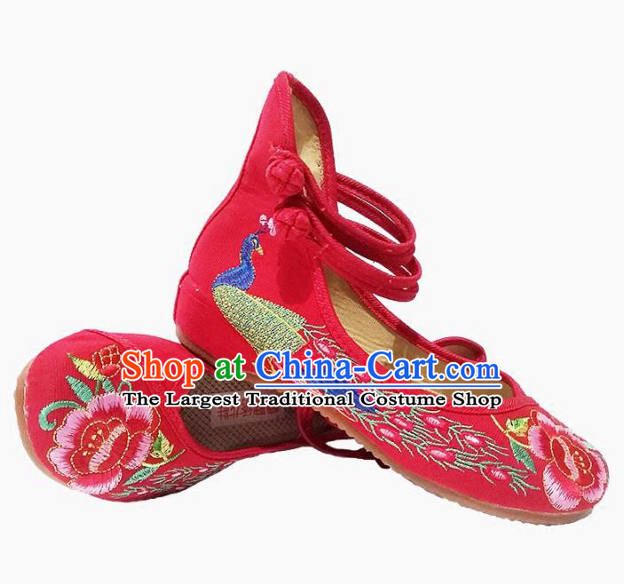 Asian Chinese Traditional Red Shoes Ancient Hanfu Embroidered Shoes for Women