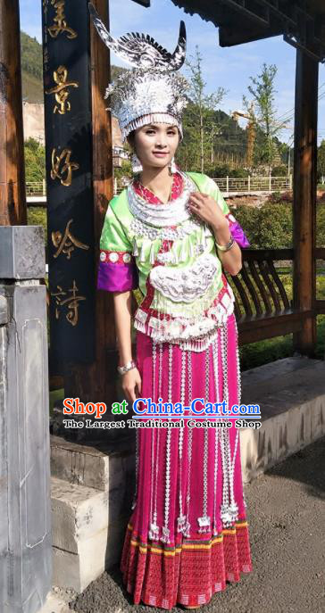 Chinese Traditional Miao Minority Dance Embroidered Costumes and Jewelry Accessories for Women