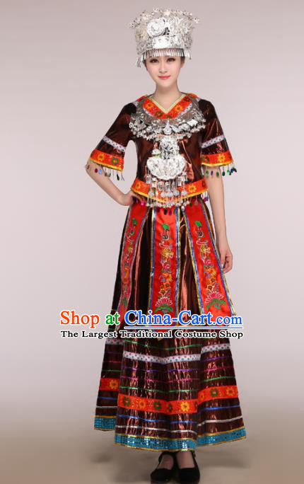 Traditional Chinese Miao Minority Dance Embroidered Brown Costumes and Headwear for Women