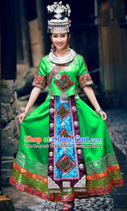 Traditional Chinese Miao Minority Dance Embroidered Green Costumes and Headwear for Women
