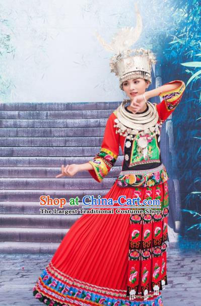 Traditional Chinese Miao Minority Wedding Costumes Hmong Embroidered Red Dress and Headwear for Women