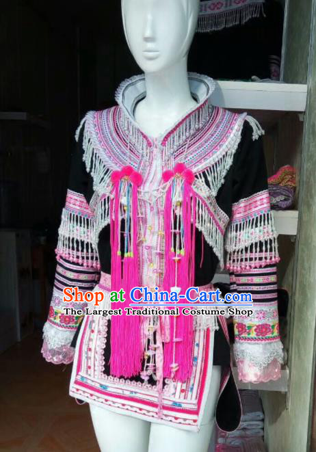 Traditional Chinese Yao Minority Costumes Embroidered Dress for Women