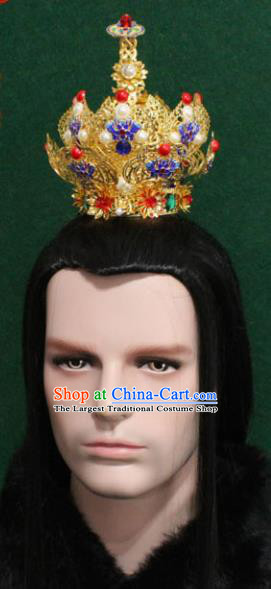 Chinese Traditional King Hair Accessories Ancient Tang Dynasty Emperor Blueing Chrysanthemum Hairdo Crown for Men