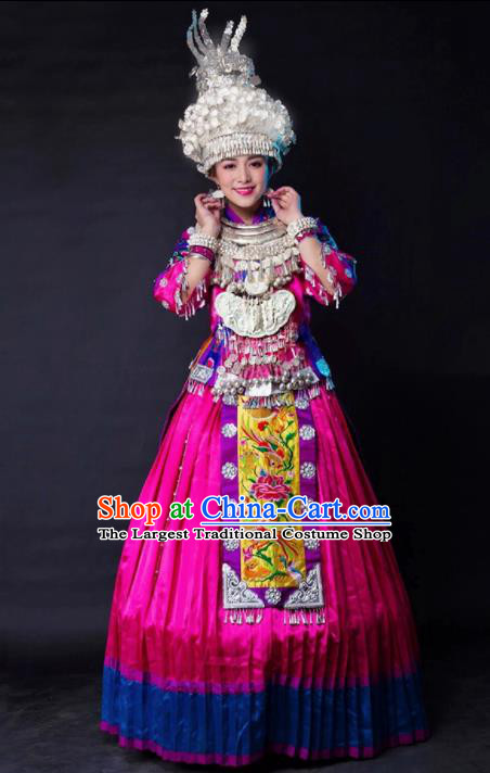 Traditional Chinese Miao Minority Embroidered Rosy Wedding Costumes and Headpiece for Women
