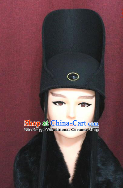 Chinese Traditional Swordsman Hair Accessories Ancient Tang Dynasty Imperial Bodyguard Hat for Men