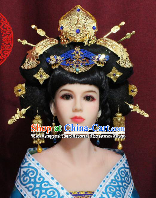 Chinese Ancient Palace Hair Accessories Handmade Tang Dynasty Imperial Consort Phoenix Coronet Hairpins for Women