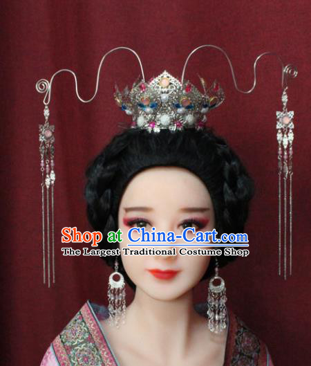 Chinese Traditional Handmade Hair Accessories Colorful Lotus Phoenix Coronet Hairpins for Women