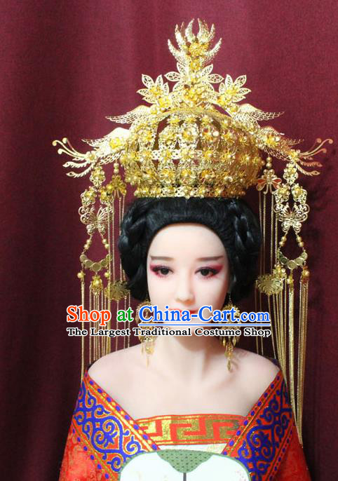 Chinese Traditional Handmade Hair Accessories Ancient Ming Dynasty Empress Golden Phoenix Coronet Hairpins for Women
