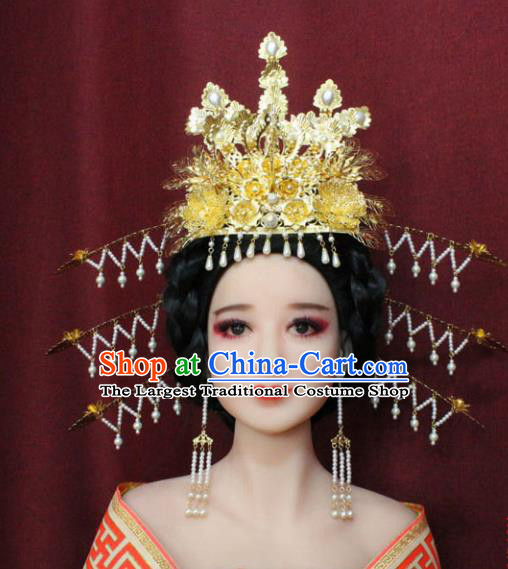 Chinese Ancient Handmade Hair Accessories Tang Dynasty Empress Phoenix Coronet Hairpins for Women