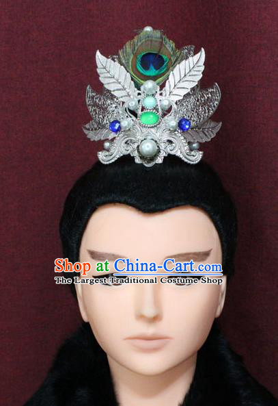 Chinese Traditional Swordsman Feather Hair Accessories Ancient Han Dynasty Prince Hairdo Crown for Men