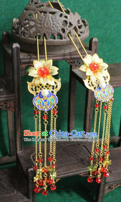 Chinese Ancient Empress Handmade Hair Accessories Golden Lotus Tassel Hairpins for Women