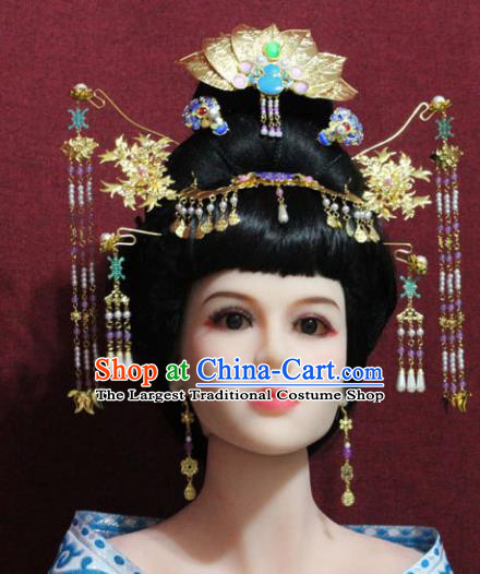 Chinese Traditional Handmade Hair Accessories Ancient Queen Lotus Coronet Hairpins for Women