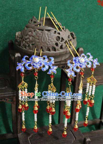 Chinese Ancient Empress Handmade Hair Accessories Blueing Chrysanthemum Hairpins for Women