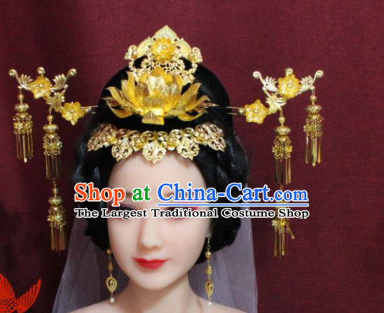Chinese Ancient Empress Handmade Lotus Phoenix Coronet Hair Accessories Hairpins for Women