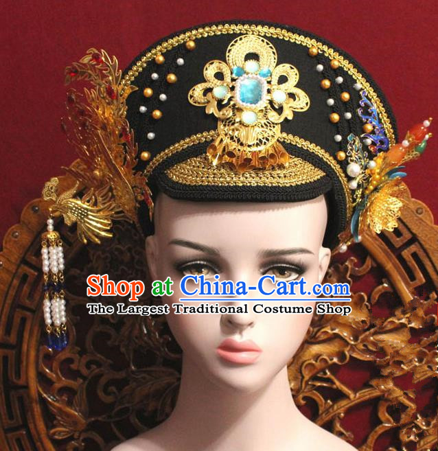 Chinese Ancient Qing Dynasty Empress Handmade Golden Phoenix Coronet Hair Accessories Hairpins for Women