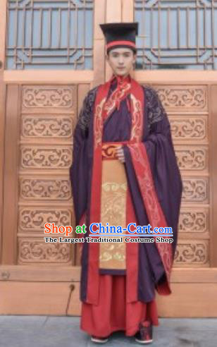 Traditional Chinese Zhou Dynasty Chancellor Hanfu Ancient Bridegroom Embroidered Costumes for Men