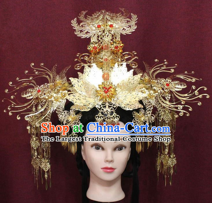 Chinese Handmade Tang Dynasty Queen Peony Phoenix Coronet Ancient Palace Hair Accessories Hairpins for Women