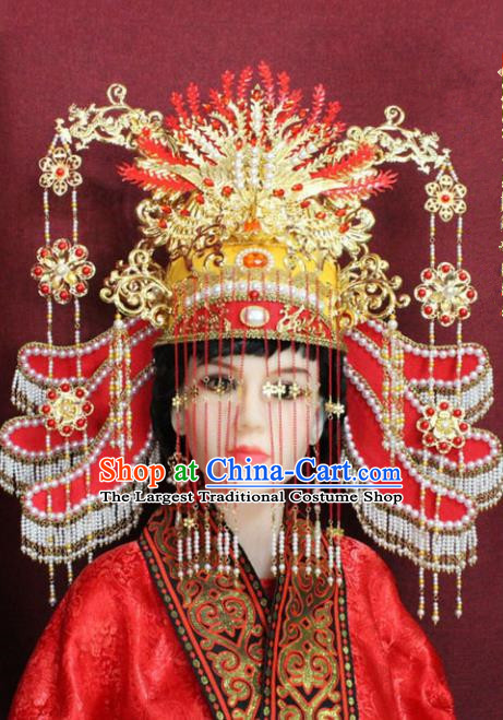 Chinese Handmade Tang Dynasty Queen Phoenix Coronet Ancient Bride Hair Accessories for Women