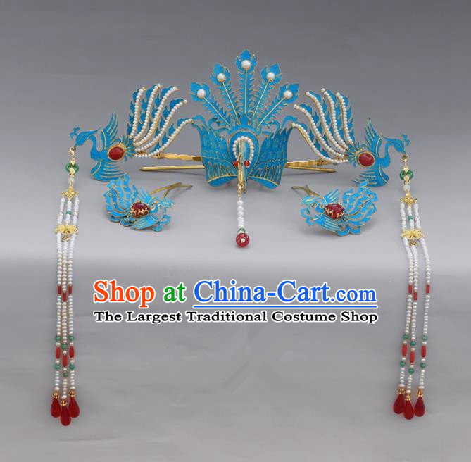 Chinese Ancient Qing Dynasty Handmade Tian-Tsui Phoenix Hairpins Hair Accessories Complete Set for Women