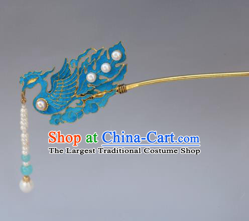 Chinese Ancient Qing Dynasty Tian-Tsui Phoenix Hairpins Handmade Hair Accessories for Women