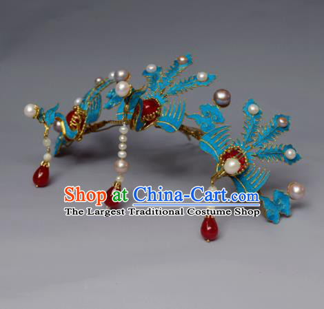 Chinese Ancient Qing Dynasty Phoenix Hair Comb Hair Accessories Handmade Hairpins for Women