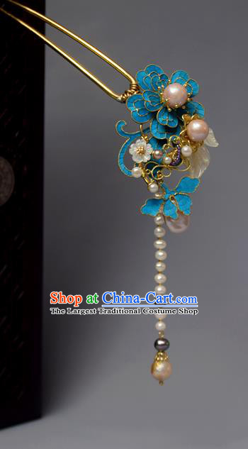 Chinese Ancient Qing Dynasty Flowers Pearls Hair Clip Hair Accessories Handmade Hairpins for Women