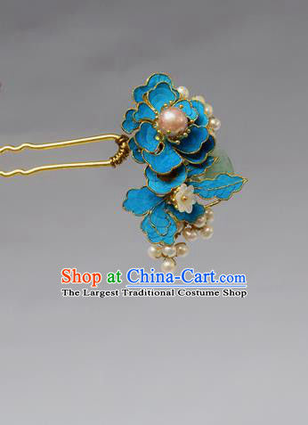 Chinese Ancient Qing Dynasty Palace Hair Accessories Handmade Tian-Tsui Pearls Hairpins for Women
