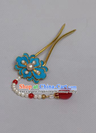 Chinese Ancient Qing Dynasty Palace Lotus Hair Accessories Handmade Tian-Tsui Pearls Tassel Hairpins for Women