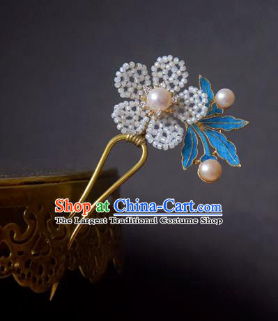 Chinese Handmade Princess Hanfu Hairpins Beads Flower Hair Clip Ancient Hair Accessories for Women
