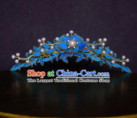Chinese Handmade Princess Hanfu Hairpins Blueing Hair Comb Ancient Hair Accessories for Women