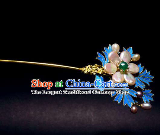Chinese Handmade Princess Hanfu Hairpins Shell Flower Hair Clip Ancient Hair Accessories for Women