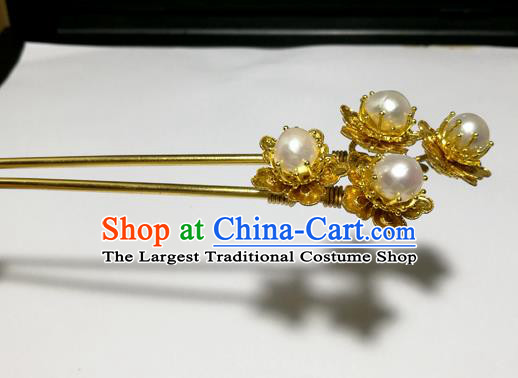 Chinese Handmade Hair Accessories Golden Peony Pearls Hairpins Ancient Hanfu Hair Clip for Women
