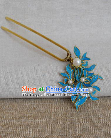 Chinese Handmade Hair Accessories Pearls Blueing Hairpins Ancient Hanfu Hair Clip for Women