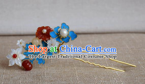Chinese Qing Dynasty Flowers Hairpins Hair Accessories Ancient Handmade Hanfu Hair Clip for Women