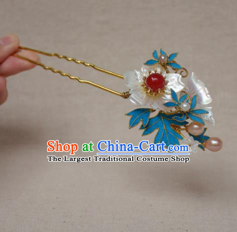 Chinese Qing Dynasty Palace Shell Butterfly Hairpins Hair Accessories Ancient Handmade Hanfu Hair Clip for Women