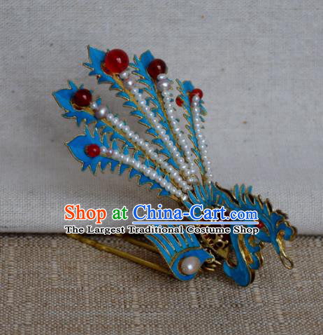 Chinese Qing Dynasty Agate Phoenix Hairpins Hair Accessories Ancient Handmade Hanfu Hair Clip for Women