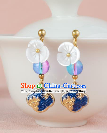 Asian Chinese Traditional Jewelry Accessories Hanfu Cloisonne Earrings for Women