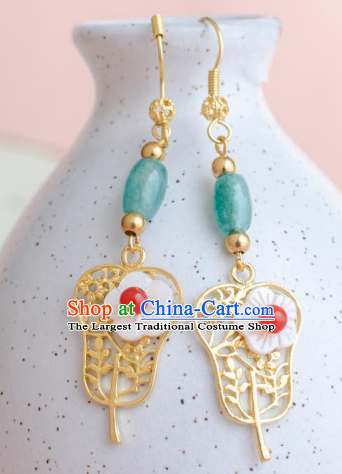 Asian Chinese Traditional Jewelry Accessories Hanfu Palm-Leaf Fan Earrings for Women