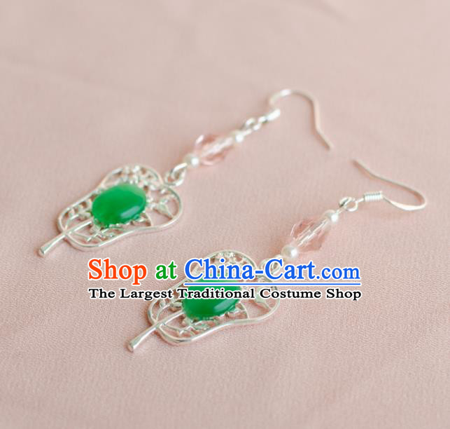 Asian Chinese Traditional Jewelry Accessories Hanfu Palm-Leaf Fan Green Earrings for Women