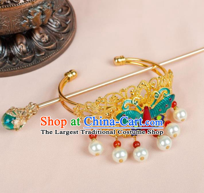 Chinese Ancient Hair Accessories Hanfu Handmade Cloisonne Butterfly Hairpins for Women