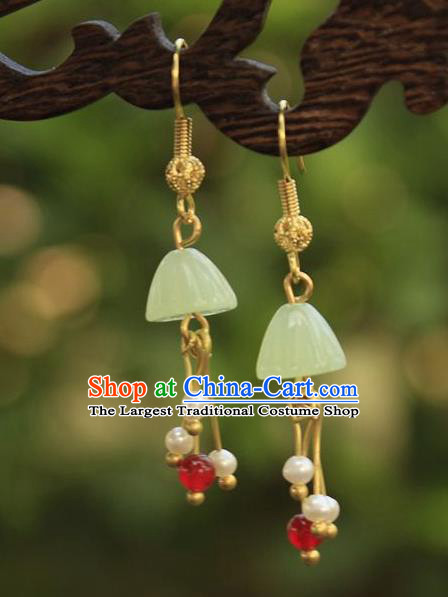 Asian Chinese Traditional Jewelry Accessories Hanfu Jade Lotus Seedpod Earrings for Women