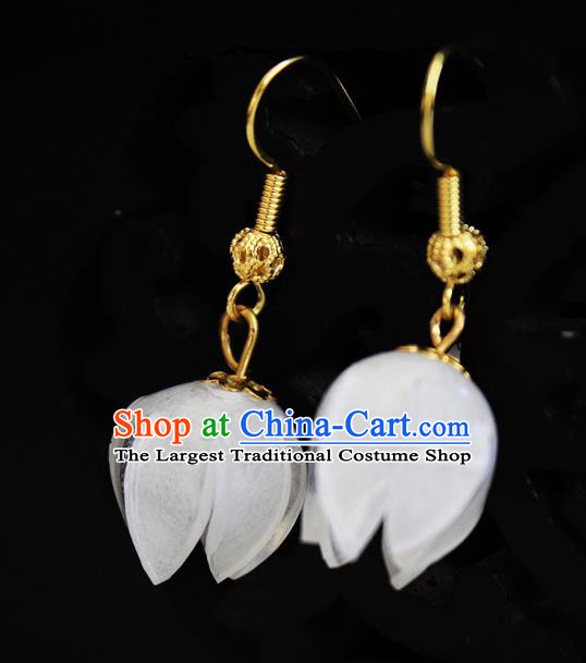 Asian Chinese Traditional Jewelry Accessories Hanfu Traditional White Flower Bud Earrings for Women